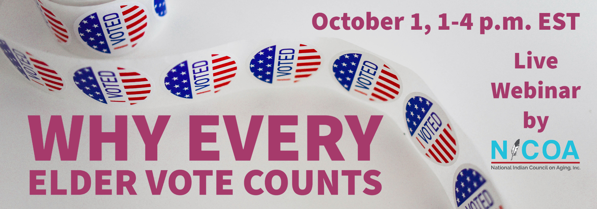 """Banner advertising for Oct. 1 webinar """"Why Every Elder Vote Counts"""" with clickable link to register"""